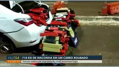 Mais de 700 kg de maconha são apreendidos em carro roubado - Motorista fugiu.