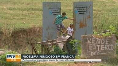 Prefeitura não cumpre prazo e ponte continua sem conserto em Franca, SP - Administração prometeu resolver problema em 90 dias, mas até agora nada foi resolvido.