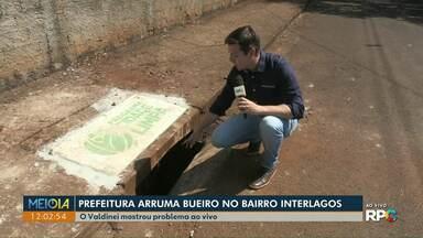 Após Meio Dia Paraná cobrar, prefeitura troca tampa de bueiro no Interlagos - O problema foi mostrado durante a visita do Valdinei a uma família na semana de aniversário do jornal e também na edição do Meio Dia Paraná desta terça-feira.