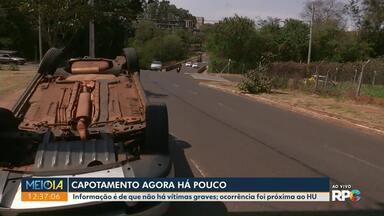 Carro capota próximo ao HU - Acidente aconteceu na manhã desta quarta-feira (28).