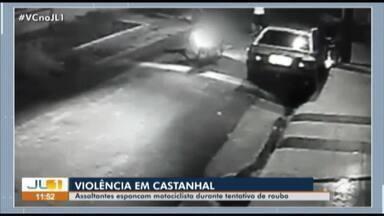 Motociclista é espancado por assaltantes durante tentativa de roubo - Motociclista é espancado por assaltantes durante tentativa de roubo