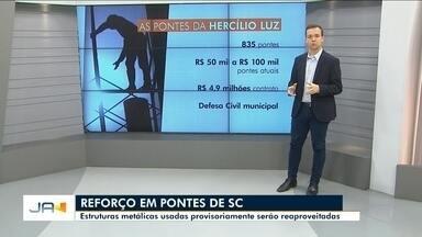 Estruturas metálicas usadas provisoriamente na ponte Hercílio Luz, serão reaproveitadas - Estruturas metálicas usadas provisoriamente na ponte Hercílio Luz, em Florianópolis, serão reaproveitadas