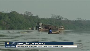 Sema diz que extração é legal e não causa danos ao rio - Sema diz que extração é legal e não causa danos ao rio