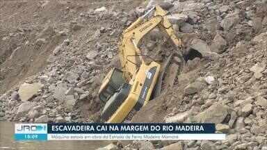 Escavadeira cai na margem do rio Madeira em Porto Velho - Segundo Santo Antônio Energia, ninguém se machucou