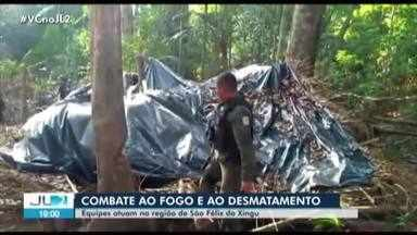 Acampamentos usados na extração ilegal de madeira são destruídos no PA - Agentes do Exército aguardam ordens para iniciar trabalhos de combate ao fogo na região.