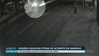 Homens assaltam vítima de acidente em Maringá - Três bandidos levaram os pertences da vítima e ainda não foram encontrados.