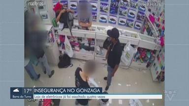 Criminosos invadem loja e fazem clientes reféns em Santos - É a quarta vez que a loja, no bairro Gonzaga, é alvo de criminosos.