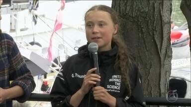 Greta Thumberg destaca importância da Amazônia no combate às mudanças climáticas - A ativista de 16 anos foi recebida com festa em Nova York, depois de passar duas semanas cruzando o Atlântico em um veleiro.