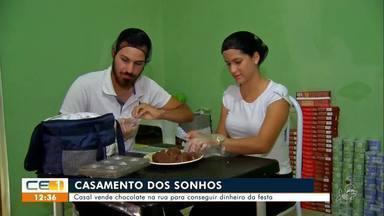 Casal vende chocolate na rua para conseguir dinheiro da festa - Saiba mais em g1.com.br/ce