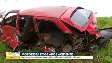 Motorista foge depois de acidente com morte - Quatro pessoas ficaram feridas, entre elas crianças que estavm em um dos veículos.