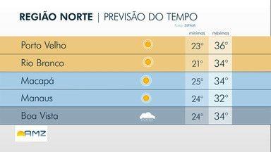 Confira a previsão do tempo para a Região Norte nesta segunda-feira (2) - Confira a previsão do tempo para a Região Norte nesta segunda-feira (2).
