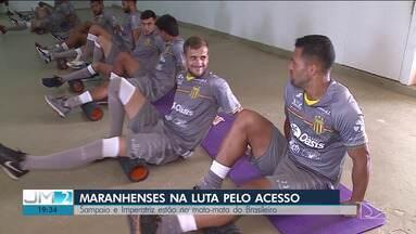 Jogadores do Sampaio se preparam para partida de volta contra o São José - Jogo em São Luís pode garantir ao tricolor a volta à Série B do Brasileirão.