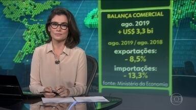 Exportações superam importações em US$ 3,28 bi em agosto - Em comparação ao mesmo mês de 2018, o Brasil vendeu menos lá fora. Por causa da gripe suína, os chineses estão importando menos soja, que é usada na alimentação dos porcos.