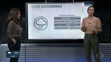 Chuva na Rocinha foi equivalente a 80% do previsto para o mês na região - Sexta (6) amanhece com chuvisco, mas sem previsão de temporais. Não há previsão de chuva para o fim de semana.