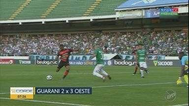 Após derrota contra o Oeste, Guarani perde a chance de sair da zona do rebaixamento - Placar acabou em 3 a 2 para o Oeste.