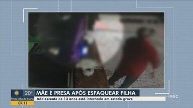 Mãe é presa suspeita de esfaquear a filha de 13 anos em Balneário Camboriú - Mãe é presa suspeita de esfaquear a filha de 13 anos em Balneário Camboriú