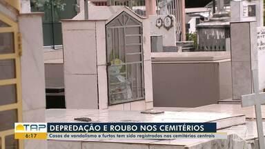 Túmulos dos cemitérios centrais de Santarém estão sendo alvo de vandalismo - Objetos também estão sendo furtados.