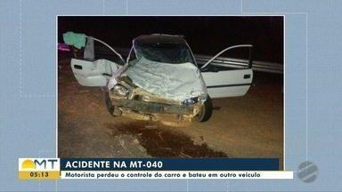 Motorista perde o controle na MT-040, bate em carro e foge do local do acidente - Motorista perde o controle na MT-040, bate em carro e foge do local do acidente