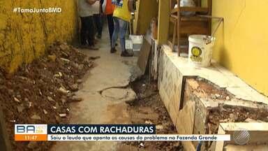 Laudo aponta acúmulo de água como motivo para rachaduras em casas de Fazenda Grande - A origem da água, no entanto, ainda não foi esclarecida pela prefeitura de Salvador.