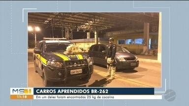 PRF apreende dois veículo na BR 262 - Um deles era furtado e seria levado pra Bolívia e o outro estava transportando cocaína