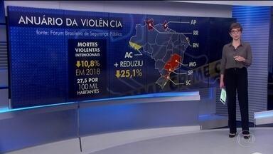 Mortes violentas estão em queda no país mas números são comparados aos de zonas de guerra - Segundo o Anuário da Violência, os assassinatos caíram 10% em 2018. A taxa ficou em 27 homicídios por 100 mil habitantes.