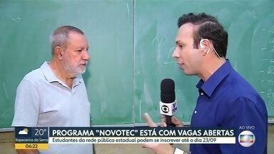 """Programa """"Novotec"""" está com vagas abertas - Estudantes da rede pública estadual podem se inscrever até o dia 23/09"""