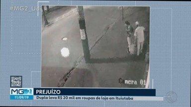 Câmeras de segurança flagram pessoas que furtaram loja de roupas masculinas em Ituiutaba - Parte do material foi encontrado em Inaciolândia no interior de Goiás, nesta terça-feira (10).