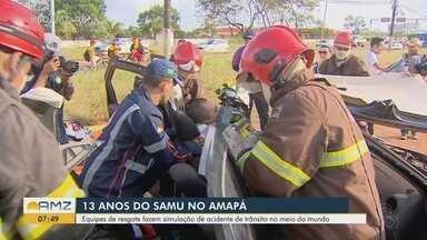 Treinamento de segurança simula acidente e resgate de vítimas feridas em Macapá - Simulação aconteceu nesta quarta-feira (11) e mobilizou cerca de 50 agentes de resgate e salvamento do Samu, Corpo de Bombeiros e PM.