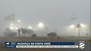 Depois de dias de muito calor, fronteira com Paraguai amanhece sob neblina e frio - Ponta Pora fazia 14º na hora do almoço