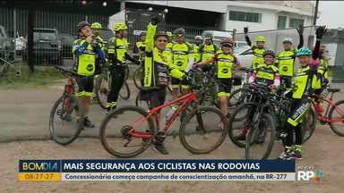 Concessionária vai começar campanha de conscientização para ciclistas que usam a rodovia - A campanha da Ecovia começa no domingo (15) e vai fazer adesivagem em bicicletas para aumentar a segurança dos ciclistas.