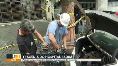 Polícia faz perícia complementar para descobrir causas do incêndio no Hospital Badim - Peritos entraram no subsolo, onde ficava o gerador que, segundo a direção do hospital, teve um curto-circuito e provocou o incêndio.