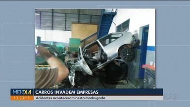 Carro invade empresa em Cascavel - Imagens de câmeras de segurança registram o momento em que um carro invadiu uma loja.