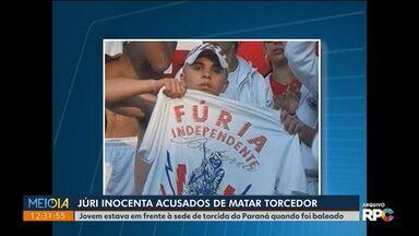 Júri inocenta acusados de matar torcedor do Paraná Clube em 2012 - Os jurados absolveram os três réus porque entenderam que não havia provas de que foram eles que atiraram contra o jovem.