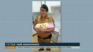 Bebê é encontrado abandonado dentro de caixa de sapato em Toledo - Recém-nascida foi levada para o hospital. Conselho Tutelar da cidade está com o caso.