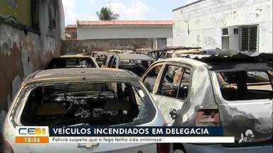 Polícia suspeita que incêndio em delegacia tenha sido criminoso - Saiba mais em g1.com.br/ce