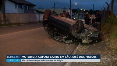 Motorista capota carro perto do Aeroporto Afonso Pena - Ele confessou que bebeu antes de dirigir.