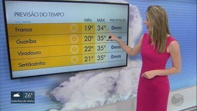 Confira a previsão do tempo para este domingo (15) na região de Ribeirão Preto - Clima continua quente e sem previsão de chuva.