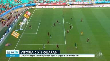 Vitória perde para o Guarani em jogo de reestreia na Arena Fonte Nova - Rubro-negro foi derrotado pelo lanterna da série B e se prejudicou na competição.