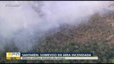 Em Santarém, exército faz sobrevoo em área incendiada - Sobrevoo em área incendiada.