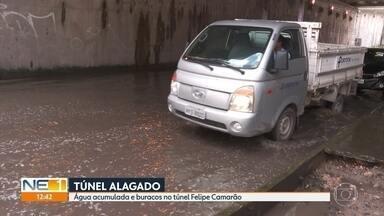 Motoristas reclamam de alagamento permanente no túnel Felipe Camarão, no Recife - Em dias de chuva ou de sol, água é constante na pista.