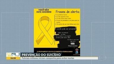 PMs lideram campanha para prevenir o suicídio - Os policiais militares são do grupamento ferroviário.