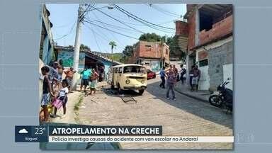 Polícia investiga causas de acidente com van escolar no Andaraí - A polícia começou a investigar as causas do acidente com uma van escolar no Andaraí, na Zona Norte. Dez crianças foram atropeladas na porta de uma creche na sexta-feira (20).