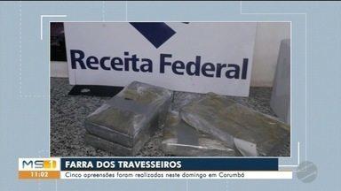 Receita Federal apreende cocaína em travesseiros - Droga estava com diferentes pessoas presas no fim de semana