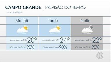 Choveu hoje em algumas regiões de Campo Grande - A quarta-feira vai ser de sol com muitas nuvens e previsão de pancadas, a qualquer hora.