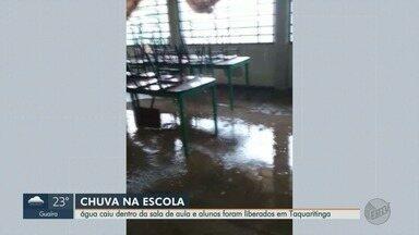 Chuva alaga escolas e 320 crianças ficam sem aulas em Taquaritinga, SP - Prefeitura diz que alagamentos foram causados por calhas entupidas, mas já realiza limpeza.