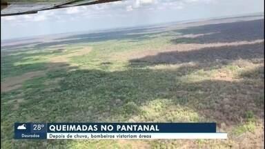 Depois de chuva bombeiros vistoriam áreas no Pantanal - Melhorou bastante a situação das queimadas no Pantanal. A chuva que atingiu a região na quarta-feira apagou a maioria dos focos, mas ainda é preciso ter atenção.