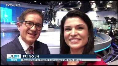 Quadro 'Pri no JN' mostra preparativos finais de Priscilla Castro para apresentar o JN - A jornalista da TV Liberal apresenta o principal jornal do país neste sábado, 28.