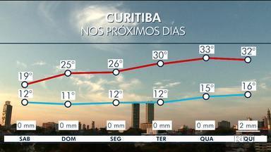 Temperatura deve subir nos próximos dias em Curitiba - A previsão é de dias bem quentes na semana que vem.