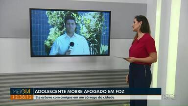 Adolescente morre afogado em Foz - Ele estava com amigos em um córrego da cidade.
