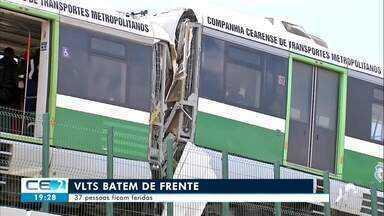 Colisão frontal entre VLTs deixa 37 feridos na Capital - Saiba mais no g1.com.br/ce